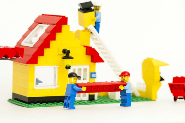 lego house building in reverse